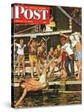 """""""Wet Camp Counselor """" Saturday Evening Post Cover  August 27  1949"""