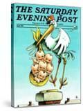 """Stork and Quints "" Saturday Evening Post Cover  April 1  1984"