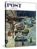 """""""Commuter Station Snowed In """" Saturday Evening Post Cover  December 24  1960"""