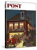 """Fireman's Ball"" Saturday Evening Post Cover  April 3  1954"