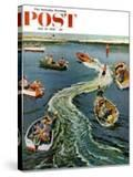 """""""Making a Wake"""" Saturday Evening Post Cover  July 26  1958"""