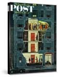 """""""Party Holding Up the Elevator """" Saturday Evening Post Cover  February 25  1961"""
