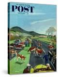 """""""Slow Mooving Traffic"""" Saturday Evening Post Cover  April 11  1953"""