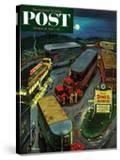 """""""Truck Stop Diner"""" Saturday Evening Post Cover  October 10  1953"""