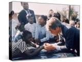 Robert F Kennedy Meeting with Some African American Kids During Political Campaign