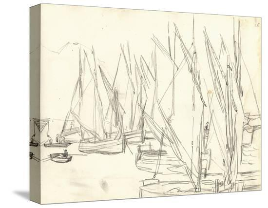 claude-monet-in-the-port-at-honfleur-pencil-on-paper