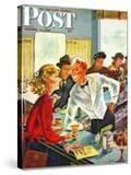 """""""Flirting Soda Jerk """" Saturday Evening Post Cover  October 11  1947"""