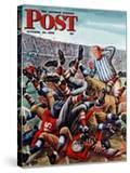 """Football Pile-up "" Saturday Evening Post Cover  October 23  1948"