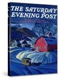 """Mail Wagon in Snowy Landscape "" Saturday Evening Post Cover  March 14  1942"