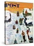 """""""Sledding and Digging Out """" Saturday Evening Post Cover  January 28  1961"""