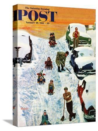 earl-mayan-sledding-and-digging-out-saturday-evening-post-cover-january-28-1961