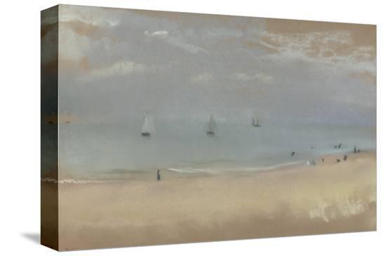 edgar-degas-au-bord-de-la-mer-sur-une-plage-trois-voiliers-au-loin