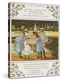 A Day at Versailles Four Children Looking at a Fountain Colour Illustration From 'Abroad'