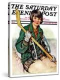 """""""Girl Hockey Player """" Saturday Evening Post Cover  January 22  1927"""