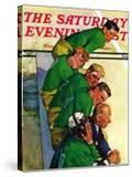 """Team on Bench "" Saturday Evening Post Cover  November 23  1940"