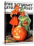 """Lighting the Pumpkin "" Saturday Evening Post Cover  November 3  1934"