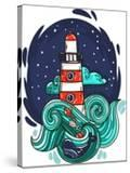 Vector Illustration Lighthouse in Storm Night Stars Space Waves Cloud
