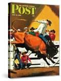 """Bull Riding "" Saturday Evening Post Cover  July 21  1945"