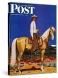 """Cowboy on Palomino "" Saturday Evening Post Cover  September 18  1943"