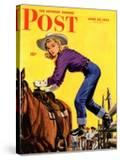 """Woman at Dude Rance "" Saturday Evening Post Cover  June 20  1942"