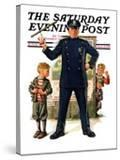 """Policeman and Boy with Slingshot "" Saturday Evening Post Cover  March 15  1930"