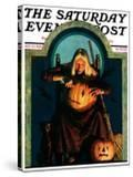"""""""Witch Carving Pumpkin """" Saturday Evening Post Cover  October 27  1928"""