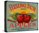 Fruit Crate Labels: Rising Sun Fancy Apples; FE Nellis and Company