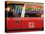 China  Hong Kong  Wan Chai  Nightlife Neon Reflected in a Hong Kong Taxi Window