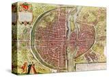 "Paris Map from ""Civitates Orbis Terrarrum"" by Georg Braun and Franz Hogenbergh  French  1572-1617"