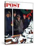"""Christmas Train Set"" Saturday Evening Post Cover  December 15  1956"
