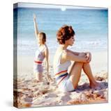 June 1956: Girls in Striped Swimsuit Modeling Beach Fashions in Cuba