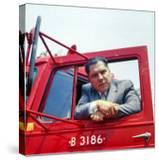 Portrait of Teamsters Union Pres Jimmy Hoffa Leaning Out Window of Red Truck