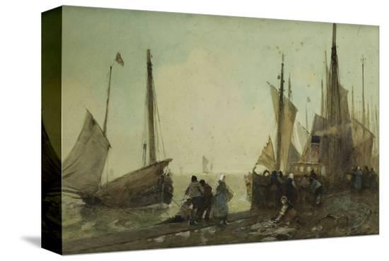 hector-caffieri-unloading-fishing-boats-on-the-quay-brittany