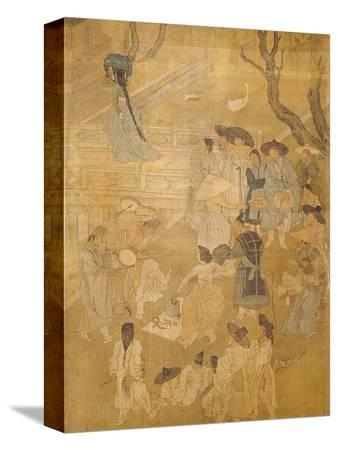 hong-do-kim-street-dancers-from-genre-scenes-8-panel-screen-ink-and-colour-on-silk-korea-detail