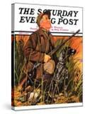 """Hunter and Dog in Field "" Saturday Evening Post Cover  November 9  1935"