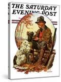 """Hunter and Spaniel "" Saturday Evening Post Cover  November 3  1928"