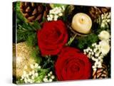 Christmas Arrangement of Two Red Roses with White Chrysanthemum