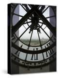 View Across Seine River Through Transparent Face of Clock in the Musee d'Orsay  Paris  France