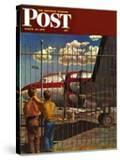 """Boys at Airport "" Saturday Evening Post Cover  March 30  1946"