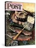 """Fishing Still Life "" Saturday Evening Post Cover  April 15  1944"