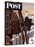 """Ski Equipment Still Life "" Saturday Evening Post Cover  February 3  1945"