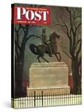 """Statue of Washington on His Horse "" Saturday Evening Post Cover  February 22  1947"