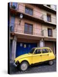 Yellow Citroen Parked Outside Apartments  Calatayud  Spain