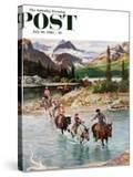 """Horseback Riding in Glacier Park "" Saturday Evening Post Cover  July 30  1960"