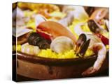Plateful of Paella Made with Mussels  Shrimp and Rice