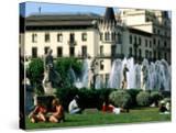 People Relaxing in Plaza de Catalunya  Barcelona  Catalonia  Spain