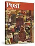 """""""Bird's-Eye View of New York City """" Saturday Evening Post Cover  August 17  1946"""