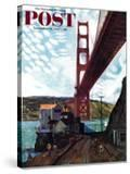 """""""Fishing Under the Golden Gate"""" Saturday Evening Post Cover  November 16  1957"""