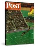 """Onto the Field "" Saturday Evening Post Cover  November 1  1947"