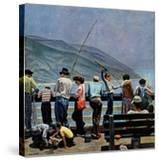 """Pier Fishing "" August 13  1949"